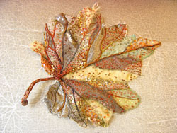 Autumn leaf embroidered